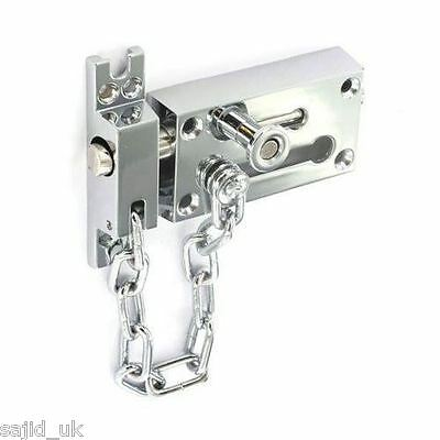 """Securit S1637 Chrome Plated Door Bolt Lock and Security Chain 80mm/3"""" - FREE P&P"""