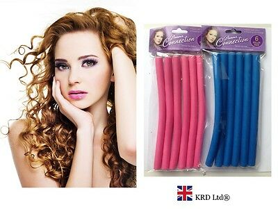6 x BENDY CURLY ROLLERS SET Foam Soft Twisty Hair Dressing Curling Tools Curlers
