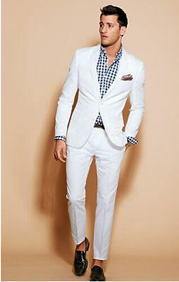 New Custom Made White Men's Suits Slim Fit Formal Business Party Suit Groom Suit