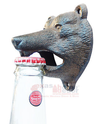 Rustic Bear Beer Soda Bottle Opener Cast Iron Lodge Cabin Wall Mounted Pub Bar