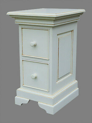 Pair Shabby Chic Antique White Colonial 2 Drawer Colonial Bedside Cabinet