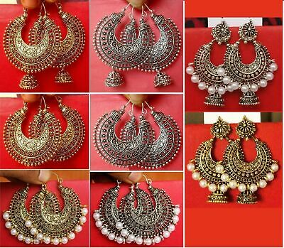 Vintage Ethnic Jewelry Gold Silver Oxidized Indian Pearl Earrings Jhumka Jhumki