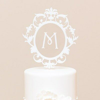 Classic Floating Monogram Acrylic Cake Topper in White Single Letter C