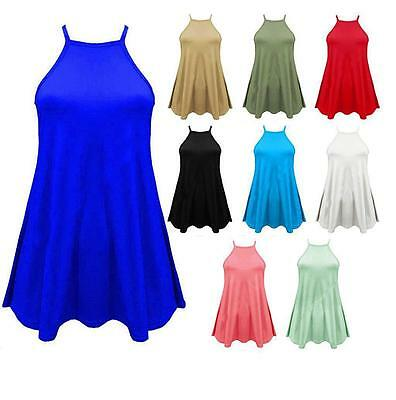 Womens Plain Strappy High neck Sleeveless Ladies Swing Cami Vest Top Plus 16-22