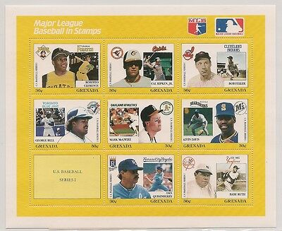 MLB Major League Baseball in Stamps Yellow Grenada Series 1 Babe Ruth Clemente