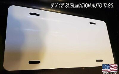 "6"" X 12""  SUBLIMATION Auto Tags  LICENSE PLATES -100 Pieces / .025 white  NEW"
