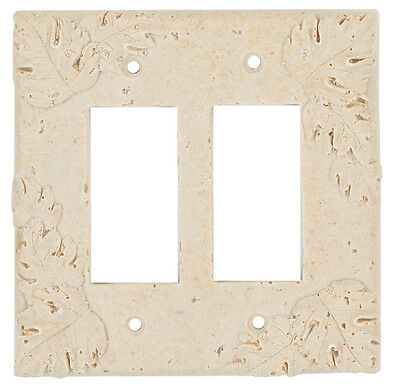 Resin Travertine Faux Stone Switch Plate Cover - Double GFCI Rocker Leaves Light