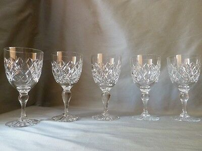 Webb vintage Dennis Diamonds cut water or wine glasses, set of 5, signed