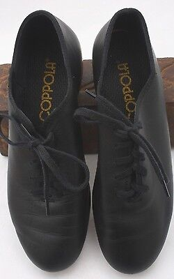 Coppola by Capezio CG355 Black Leather Lace Up Tap Shoes Sz 4.5 W Free Shipping