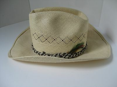 Vintage Wrangler Natural Straw Hat Cowboy Western 6 1/2 Feather