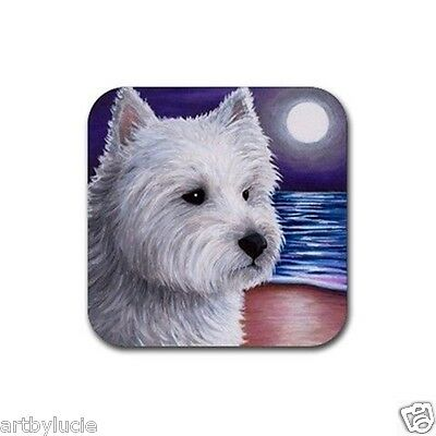 Rubber Coasters set of 4, art painting Dog 81 Westie West Highland White Terrier