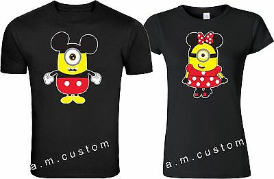 MinionS LOVE MICKEY & MINNIE couple matching funny cute TShirt S-4XL