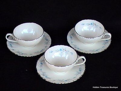 Lenox Chanson D514 3 Cups & Saucers Ivory Blue Flowers Swirled Platinum Trim