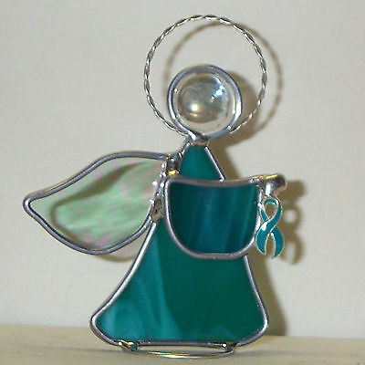 Teal Cervical Cancer Awareness Ribbon Teal Stained Glass Angel Handmade in USA
