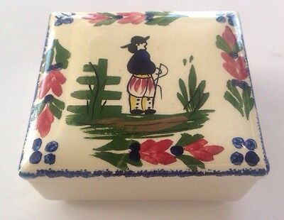 Vintage Blue Ridge Pottery French Peasant Cigarette Trinket Box With Lid