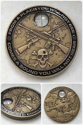 *Authentic Navy Marine Army SNIPER Crosshair Glass Scope 3D Challenge Coin