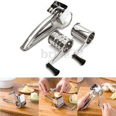 New Rotary Cheese Grater Stainless Steel 3 Drums Blades Slicer Chocolate Carrot