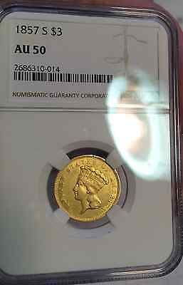 1857-S $3.00 Ngc Au 50 Extraord Rare Key Date Indian Princess Gold 14,000 Minted