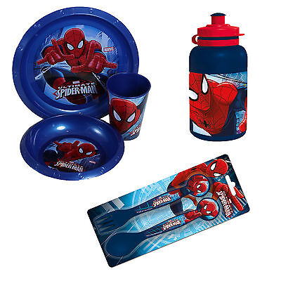 SPIDERMAN Plastic Kids Picnic Dinner Lunch Feeding Cup Plate Bowl Bottle Cutlery