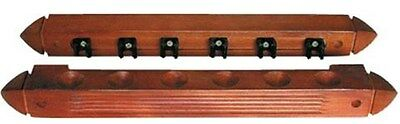 Snooker or Pool Wall Cue Rack for 6 Cues - Black Cue Clips - Mahogany Finish