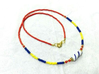 Afghan Natural Lapis, Coral, Yellow Glass Beads Necklace w/t Antique Roman Glass