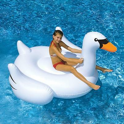 White Summer Lake Swimming Water Pool Rideable Swan Inflatable Float Toy