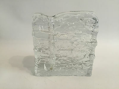 Big Square Solifleur Glas Blockvase Walther Design 60er 70er RAR 60s 70s Crystal