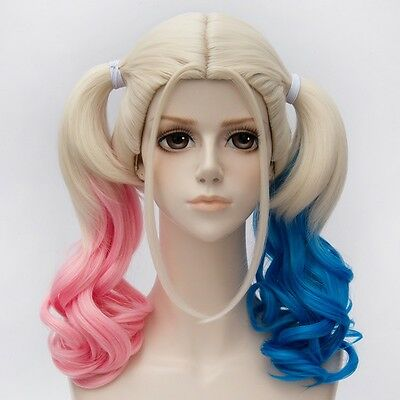 Suicide Squad Harley Quinn Blue Pink Wig Twintails Costume Cosplay Batman Joker