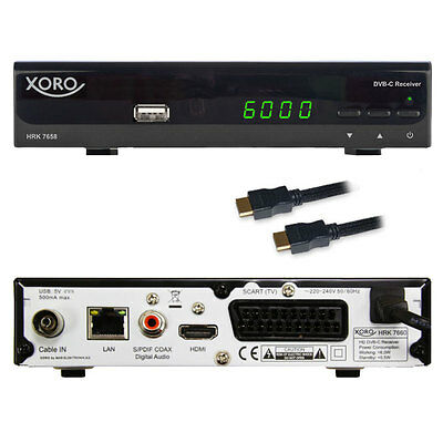 g Digital HD Kabel Receiver Xoro HRK 7658 USB LAN HDMI Scart EPG DVB-C TV Empfä
