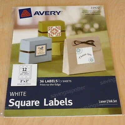Avery 22922 White Multipurpose Permanent Square Labels 2 x 2 Laser/Inkjet 36/Pk
