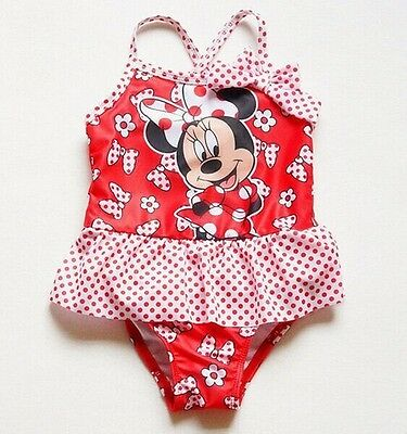 New Baby Girls Swimwear One Piece Red Floral Minnie Mouse Swimsuit 2 3 4 5 6 7T