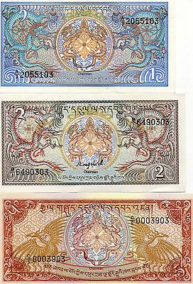 BHUTAN Asia set of 3 notes 1,2,5 Ngultrum UNC 1985,1986 p-12,13,14