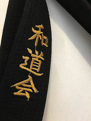 Karate Black Belt 300cm Wadokai Extra Wide Obi With Kanji
