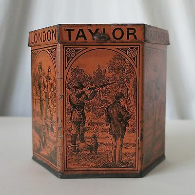 Taylor Brothers London Antique Mustard Hexagon Scarce Tin, Hunting Sports Images
