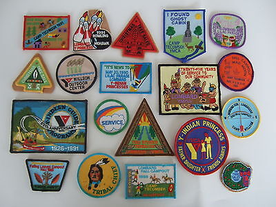 90s Lombard  YMCA patches - tribal leader, Indian princess, campouts – 19 pieces