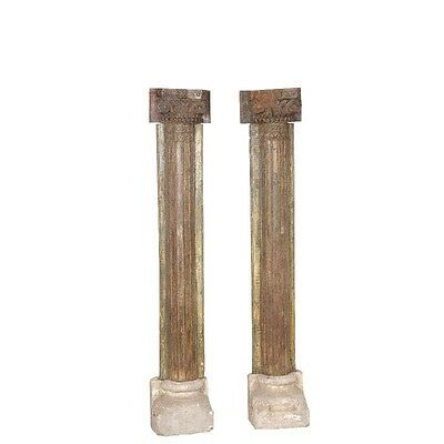 "88"" Tall Reuben Wooden Half Pillar Set of 2 Hand Carved Antique Vintage Columns"
