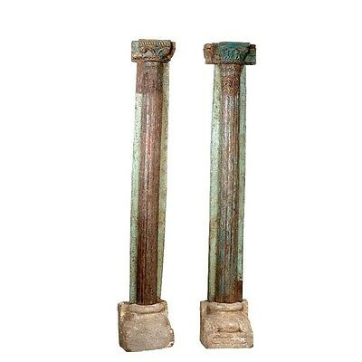 "92"" Tall Lily Wooden Pillar Half Set of 2 Hand Carved Antique Vintage Columns"