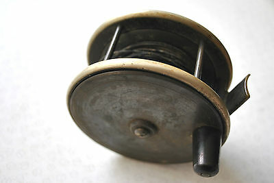 """A Very Nice Vintage 4"""" Ebonite And Brass Salmon Reel With German Silver Rims"""