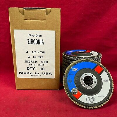 """QTY:10 T29 Flap Disc 4 1/2"""" x 7/8"""" 80grit Z-FLEX Cotton Backing MADE IN USA"""