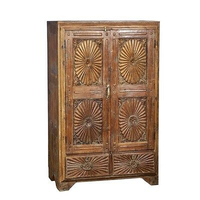 "57"" Tall Clare Cabinet Solid Reclaimed Old Wood Vintage Hand Carved"