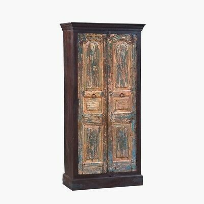 """76.5"""" Tall Lemuel Cabinet Solid Reclaimed Old Wood Vintage Hand Carved"""