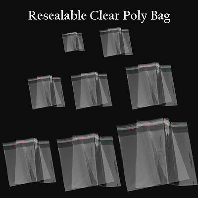 100 Bags, Clear Poly Bags Large Small Plastic Packaging Resealable Cello [US]