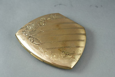 Vintage Elgin American Powder Compact Gold Tone Polished Engraved Floral Top