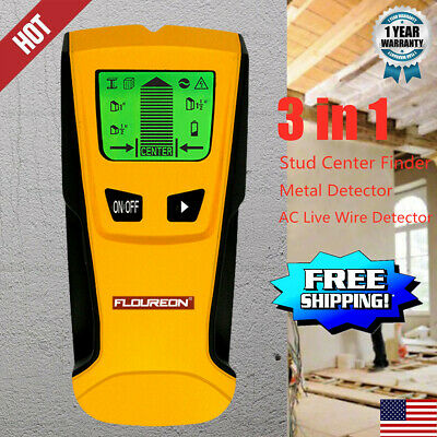 Floureon 3in1 LCD Wall Detector Stud Center Finder AC Live Wire Detector Scanner
