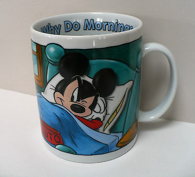 Mickey Mouse XL 28 Oz Large Jumbo Coffee Mug Why Do Mornings Have to Be So Early