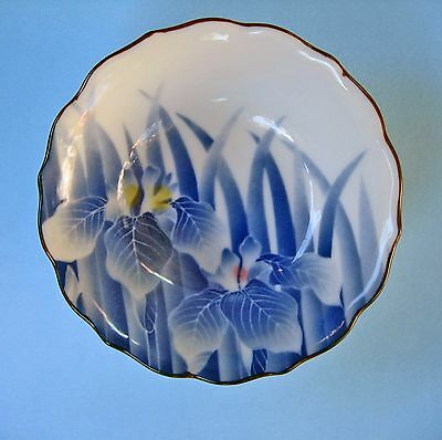 JAPAN DISH BOWL Small ceramic hand painted blue Iris flowers decorative retro