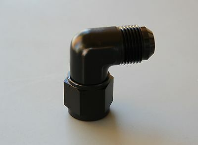 90 Degree -6 AN Male To -6 AN Female Swivel Adapter Fitting BLK
