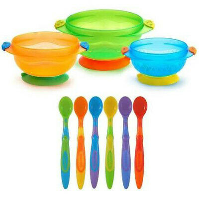 3 Suction Cup Baby/Toddler Weaning Feeding/Food/Bowls & 6 Soft Spoons Set