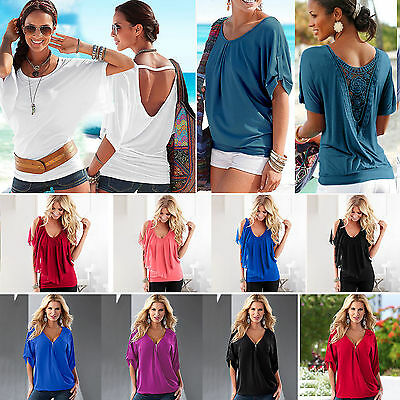New Womens Summer Batwing Short Sleeve T-Shirt Tops Fashion Casual Baggy Blouse
