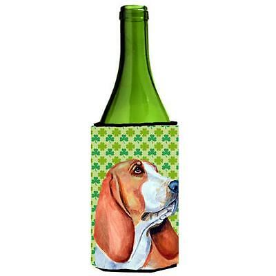 Basset Hound St. Patricks Day Shamrock Wine bottle sleeve Hugger 24 oz.